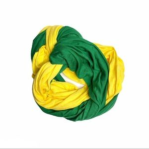 Look Snood Scarf Double Loop Yellow Green Cotton